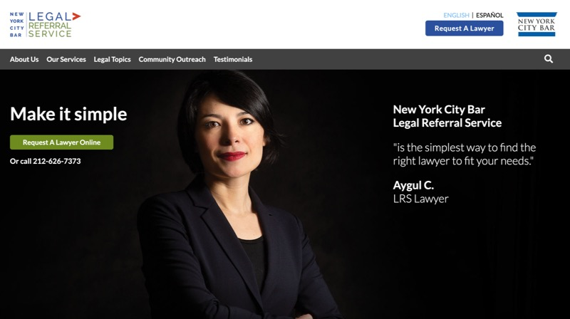 NYC Bar Legal Referral Service website screenshot